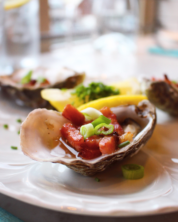 Electric Cork - Fishbar: Kilpatrick grilled oysters with Worcester sauce, bacon & spring onion