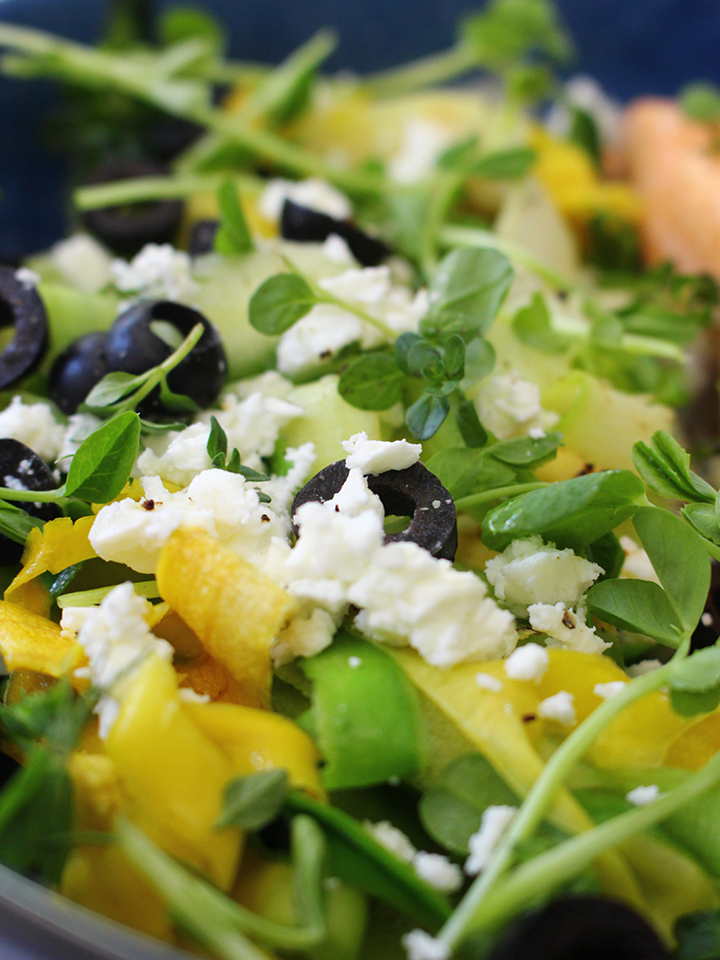 Yellow & green courgette salad with feta, olives, dill, thyme & lemon