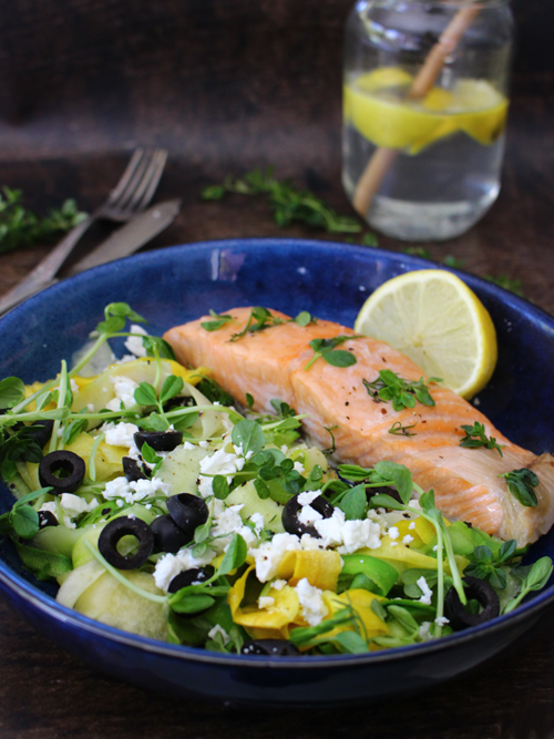 Yellow & green courgette salad with salmon, feta, olives, dill, thyme & lemon