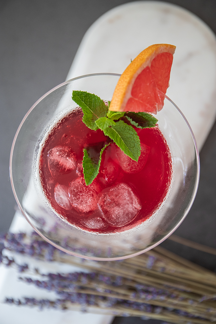Hibiscus & Rose Water Iced Tea with Mint and Grapefruit